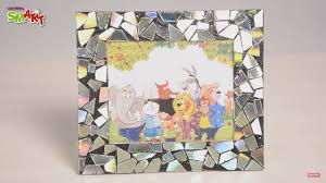 how to make a mosaic photo frame with cd diy art craft s for kids from smart