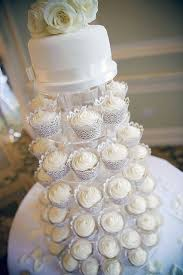 Baby Blue And White Wedding Cupcakes In A Gorgeous Tower With