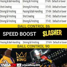 Speed Boosting Chart 2k19 Jerz