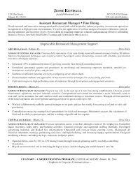Restaurant Manager Resume Skills Restaurant Assistant Manager Cover Letter Keralapscgov
