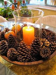 I could use yhise scented pine cones and I wouldnt need a candle. need a  centerpiece that takes less than five minutes to make? Just place pine  cones in a ...
