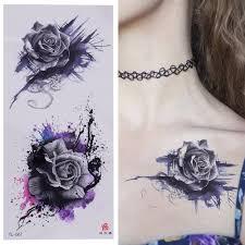 фиолетовая роза ювелирных изделий воды передачи татуировки наклейки женщины Body