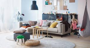... Living Room, Ikea Living Room Ideas With Carpet And Brown Sofa And  Cushion And Black ...