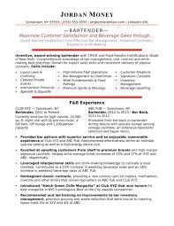 Bartending Resume Skills Sample Bartender Resume Benigebra Inc
