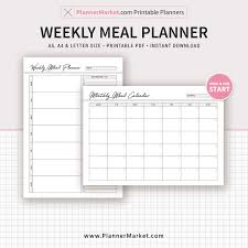 Monthly Meal Planner Printable Weekly Meal Planner Inserts 2019 Menu Planner Monthly Meal Calendar A5 A4 Letter Size Planner Refill Planner Binder