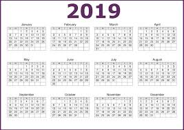 One Sheet Calendar 2020 2019 One Page Printable Calendar Download