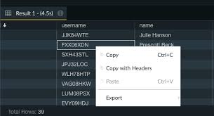 Export Results - DataRow - Management Studio for Amazon Redshift