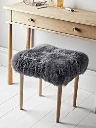 sheepskin dressing table stool slate grey