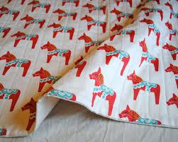ORGANIC Baby Quilt Dala Horses in Red Baby Quilt Organic & Like this item? Adamdwight.com