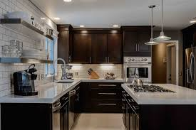 Wallpaper: Awesome Dark Kitchen Cabinets With Light Countertops With  Hanging Rack; Countertops; June 30, 2017; Download 990 X 660 ...