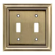 allen roth cosgrove 2 gang antique brass double wall plate