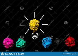 black background design inspiration. Plain Background Inspiration And Great Idea Concept Light Bulb With Crumpled Colorful Paper  On Black Background On Black Background Design S