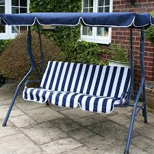 charles bentley 2 seater swing seat blue white striped