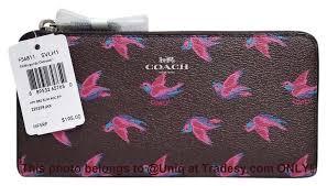 Coach NWT Beautiful Coach Happy Bird Zip Around Slim Accordion Wallet ...