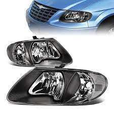 01 07 Dodge Grand Caravan Chrysler Town Country Voyager Headlights Black Housig Clear Corner Chrysler Town And Country Grand Caravan Town And Country