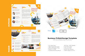 The world's most comprehensive webfonts supported free font archive. Yellow Trifold Brochure Design Template Graphic By Rivatxfz Creative Fabrica