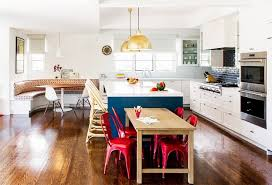 kitchen breakfast table designs. an open plan kitchen idea with a banquette nook, by amy sklar design. breakfast table designs