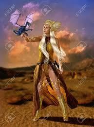 ファンタジー髪型や服を着てファンタジー腕でドラゴンのカブと女性 の