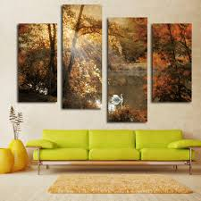 nice white swan painting fairy multi panel canvas wall art landscape picture hang on white wall