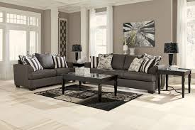 Informal Living Room Fancy Modern Sectional Charcoal Sofa With Square Desk On Brown
