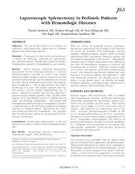Pediatric Technique Chart Pdf Laparoscopic Splenectomy In Pediatric Patients With