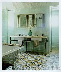 bathroom tiles nyc this striking bathroom with seagreen walls and an italian antique ceme