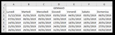 Excel Creare Un Calendario Per Lanno 2019 Utilizzando Microsoft