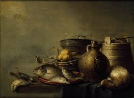 kitchen utensils art. Still Life Of Fish, A Pear, Game And Kitchen Utensils Art