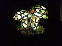 mushroom night light sea stained glass art by katemurphy