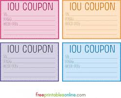 I Owe You Voucher Template Colorful Free Printable Iou Coupons Diy