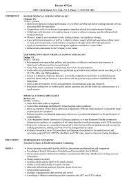 Medical Coding Specialist Resume Samples Velvet Jobs