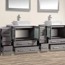 84 Inch Double Sink Bathroom Vanity Combo Set 10 Drawers 2 Shelves 4 Homebeyond
