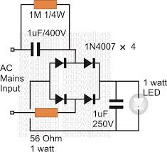 watt led driver circuit diagram info simplest 1 watt led driver circuit at 220v 110v mains voltage wiring circuit