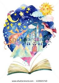 Watercolor open book with magic world. The fairy tale world in one ...