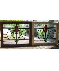 art deco stained glass window with tulip