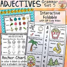Adjectives Interactive Notebook With Video Lesson Anchor Chart Poster Grammar