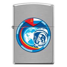 <b>Зажигалка ZIPPO</b> Гагарин Brushed Chrome