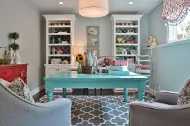 view in gallery pick a shade of blue you absolutely love to enliven the gray home office and crafts