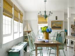Decorations:Beach House Cottage Decorating Idea With Bamboo Window Blinds  And Rustic Dining Set Beach