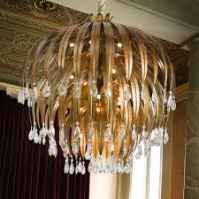 large round antiqued bronze crystal chandelier