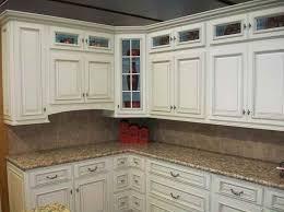 image of antique white glazed kitchen cabinets
