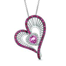 heart shaped lab created pink sapphire ruby and diamond accent pendant in necklace macys v