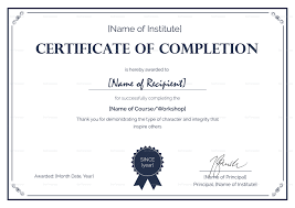 Certificate Of Completeion Formal Completion Certificate Template