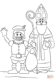 Small Picture Zwarte Piet and St Nicholas coloring page Free Printable