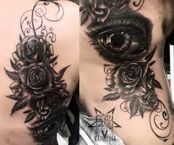 большая тату на спине глаз и розы сделать тату у мастера каролины