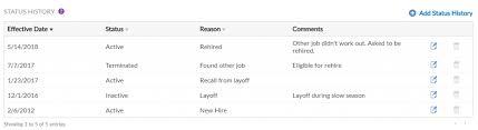 Employee Status Using Employee Status History In Patriot Hr