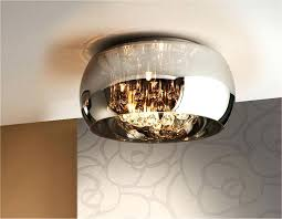 smoked glass flush ceiling light nova gran with clear crystal droppers catarina