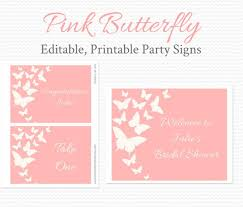 Welcome Signs Pink Butterfly Bridal Shower Decor Wedding Birthday