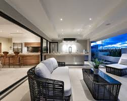Example Of A Trendy Patio Kitchen Design In Perth With A Roof Extension