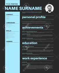 Vector Minimalist Cv Resume Template With Nice Typogrgaphy